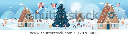 Christmas Santa Claus with ice cream and lollipop. Stock photo © heliburcka