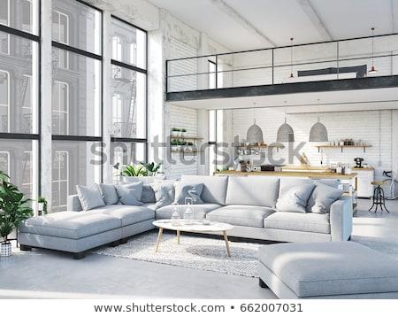 mooie · kamer · groene · muren · keuken · interieur - stockfoto © bezikus