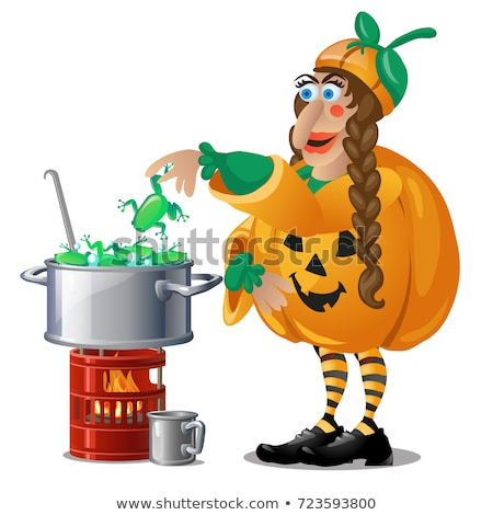 Forest witch in costume Jack-o-lantern brews magic potion frogs isolated on white background. Sketch Stock photo © Lady-Luck