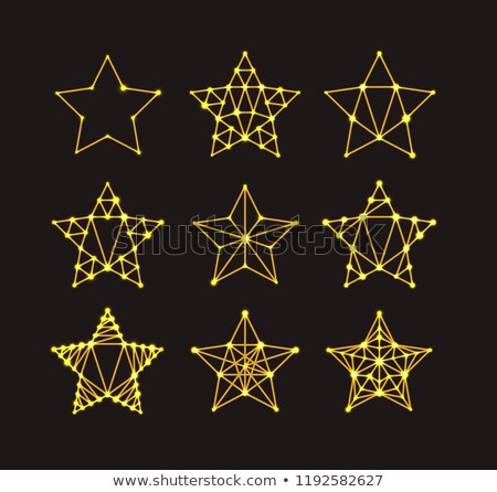 Golden geometric stars in the art deco style, varying degrees of detail. Modern design. illustration Stock photo © m_pavlov