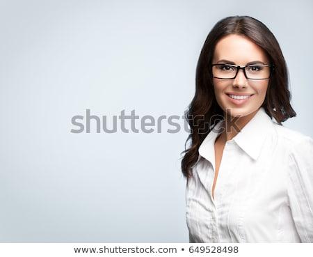 улыбаясь · молодые · брюнетка · шуба · портрет · изолированный - Сток-фото © acidgrey