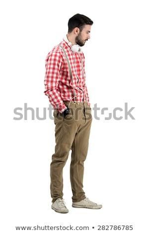 Portre zarif genç aşağı bakıyor yan takım elbise Stok fotoğraf © feedough