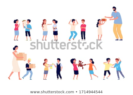 teen male conflict of young people fight violence vector isolated illustration stock photo © pikepicture