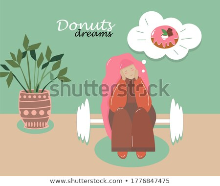 Fat Girl Eating A Hamburger And Dreaming To Be Fitness Vector. Isolated Illustration Stock photo © pikepicture