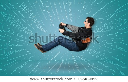 Grappig man belachelijk pose komische cartoon Stockfoto © rogistok