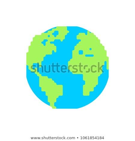 Aarde cartoon stijl hemels lichaam licht Stockfoto © MaryValery
