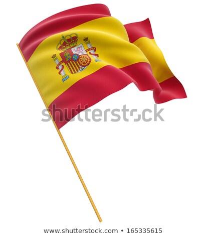 bandeira · espanhola · Espanha · bandeira · tridimensional · tornar · cetim - foto stock © daboost