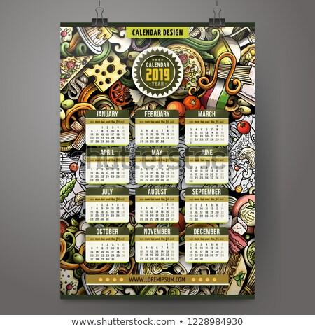 Cartoon colorato scarabocchi cucina italiana anno Foto d'archivio © balabolka
