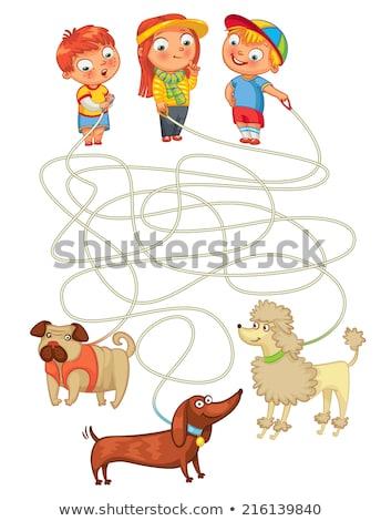 лабиринт · игры · девушки · собака · Cartoon · иллюстрация - Сток-фото © izakowski