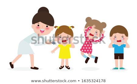 pediatrician vaccinating scared crying child girl vector isolated cartoon illustration stock photo © pikepicture