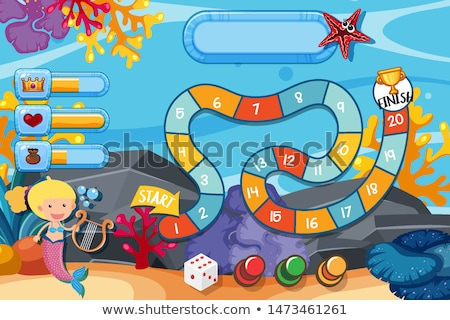 boardgame template with mermaids under the sea stock photo © colematt
