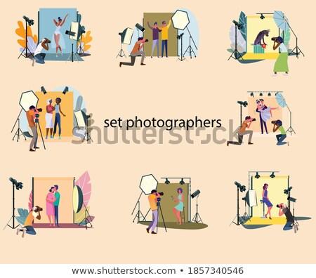 Paparazzi fotós online bannerek szett férfi Stock fotó © robuart