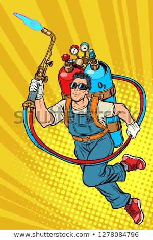 Lasser professionele werknemer gas pop art Stockfoto © studiostoks