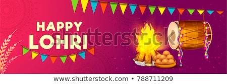 Happy Lohri banner, greeting card, Punjabi festival celebration Stock photo © MarySan