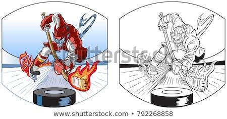 Cartoon diablo patinaje sobre hielo ilustración invierno sonriendo Foto stock © cthoman