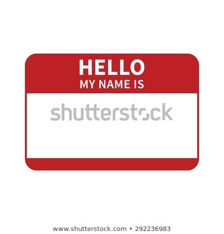 kék · címke · matrica · hello · enyém · név - stock fotó © aisberg