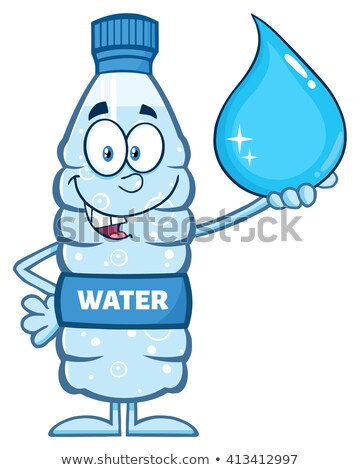 funny water plastic bottle cartoon mascot character holding a water drop stock photo © hittoon