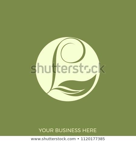 green leaves l logo letter circle icon stock photo © blaskorizov