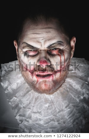 angry man dressed in scary clown halloween costume stock photo © deandrobot