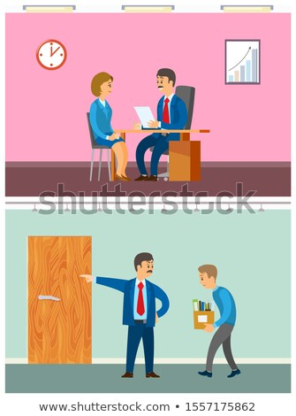 boss discharging worker from duty woman interview stock photo © robuart