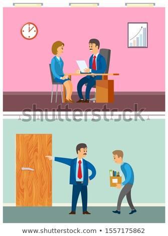 Patrão trabalhador dever mulher entrevista diretor Foto stock © robuart