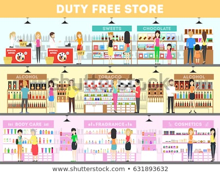 Duty free at the airport - flat design style colorful illustration Stock photo © Decorwithme