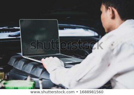 Yakışıklı mekanik iş üniforma çalışma araba Stok fotoğraf © Lopolo