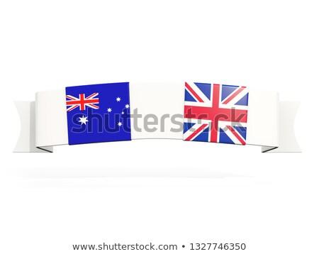 Banner zwei Platz Fahnen Vereinigtes Königreich Australien Stock foto © MikhailMishchenko