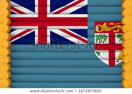 Ház zászló Fidzsi-szigetek csetepaté fehér házak Stock fotó © MikhailMishchenko