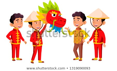 Asian Boy Kindergarten Kid Poses Set Vector. Festival, Dragon. Little Children. Happiness Enjoyment. Stock photo © pikepicture