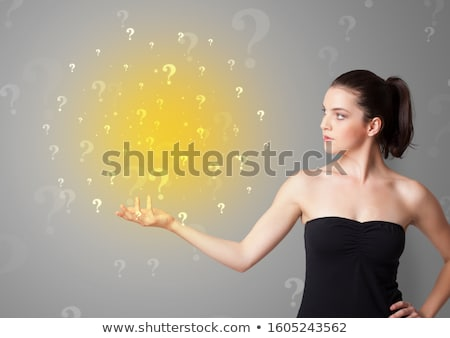 person presenting something with question sign concept stock photo © ra2studio