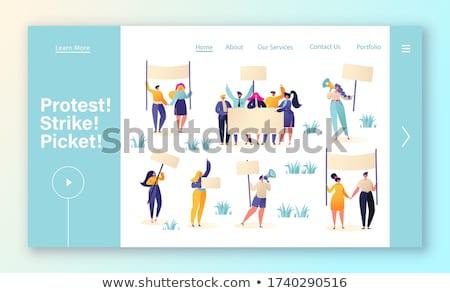 Masa demonstracja lądowanie strona malutki ludzi Zdjęcia stock © RAStudio