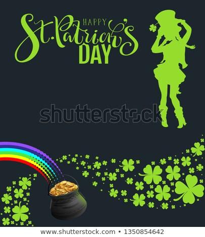 Dzień Świętego Patryka strony szablon banner zielone sylwetka Zdjęcia stock © orensila