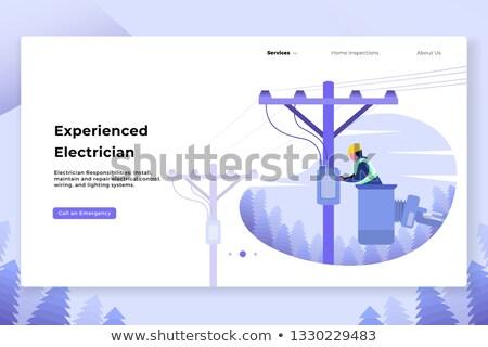 villanyszerelő · dolgozik · elektomos · doboz · bent · kívül - stock fotó © dashapetrenko