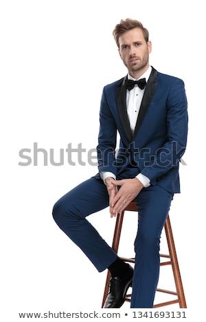 retrato · cavalheiro · azul · terno - foto stock © feedough