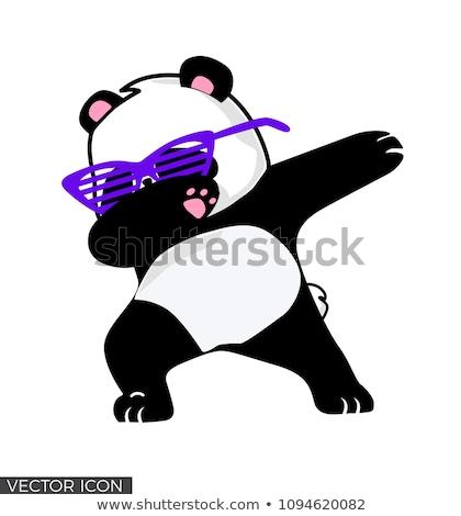 Cute vector be happy card with funny panda Stock photo © Giraffarte