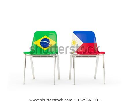Twee stoelen vlaggen Brazilië Filippijnen geïsoleerd Stockfoto © MikhailMishchenko