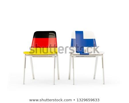 Kettő székek zászlók Németország Finnország izolált Stock fotó © MikhailMishchenko