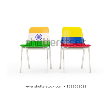 Two chairs with flags of India and colombia Stock photo © MikhailMishchenko