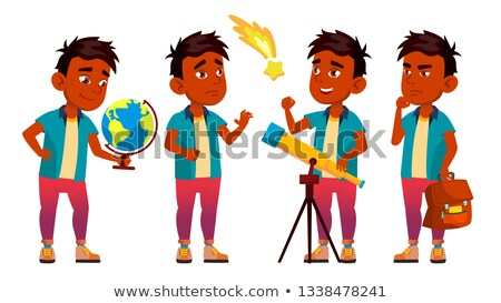 Indian Boy Schoolboy Set Vector. Primary School Child. Astronomy. Discover Planet. Student Activity. Stock photo © pikepicture