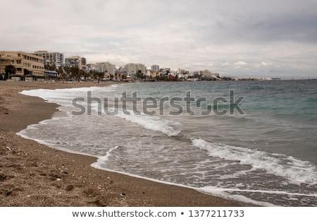 kilátás · rakpart · Spanyolország · tengerpart · naplemente · pálmafák - stock fotó © amok