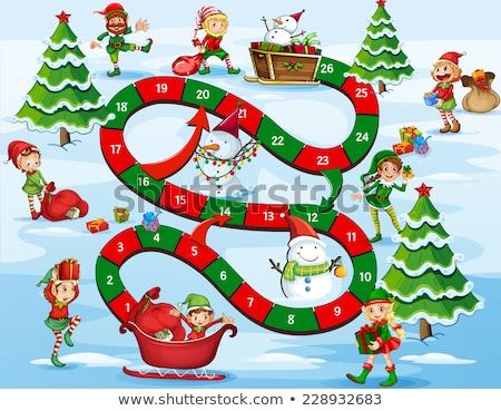Karácsony manó ajándékok illusztráció háttér művészet Stock fotó © colematt