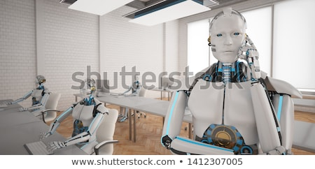 humanoide · robot · auricular · 3d · tecnología · comunicación - foto stock © limbi007
