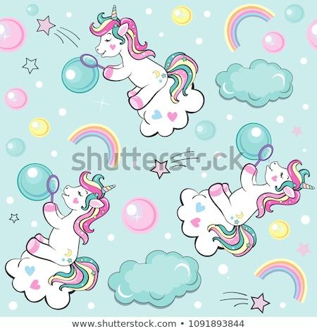 Fúj szappanbuborék aranyos rajz szív alakú Stock fotó © zsooofija