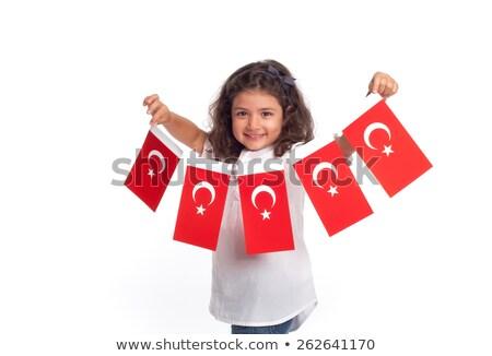 Kız türk bayrak örnek çocuklar Stok fotoğraf © colematt
