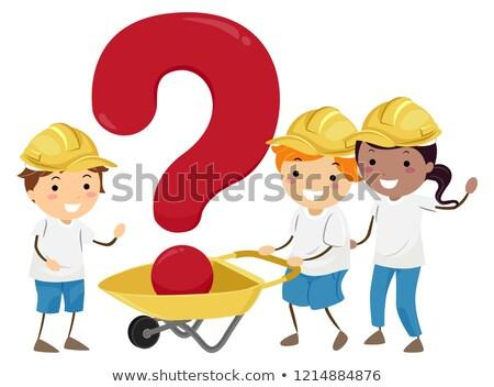 stickman kids wheel barrow question mark stock photo © lenm