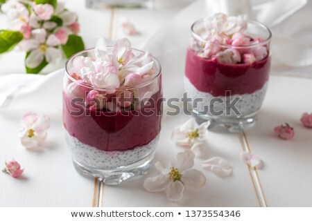 Chia pudding with blueberries and apple blossoms Stock photo © madeleine_steinbach