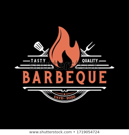 Label or logo for restaurant. Logo with grill, bbq or barbecue Stock photo © FoxysGraphic