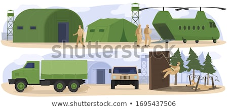 Men Soldiers Helicopter Illustration Stock photo © lenm