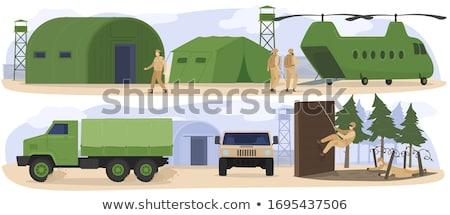 Hombres soldados helicóptero ilustración uniforme toma Foto stock © lenm